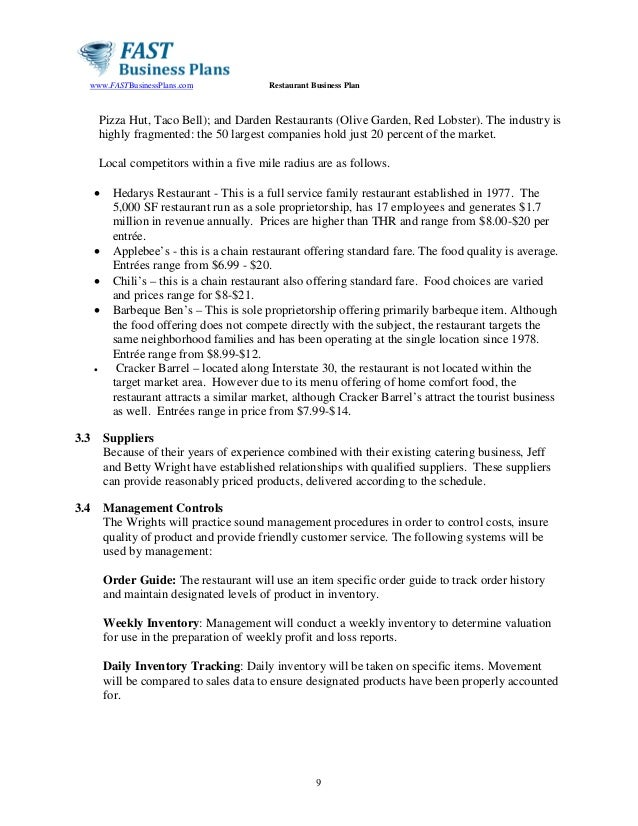 castles family restaurant business plan essay