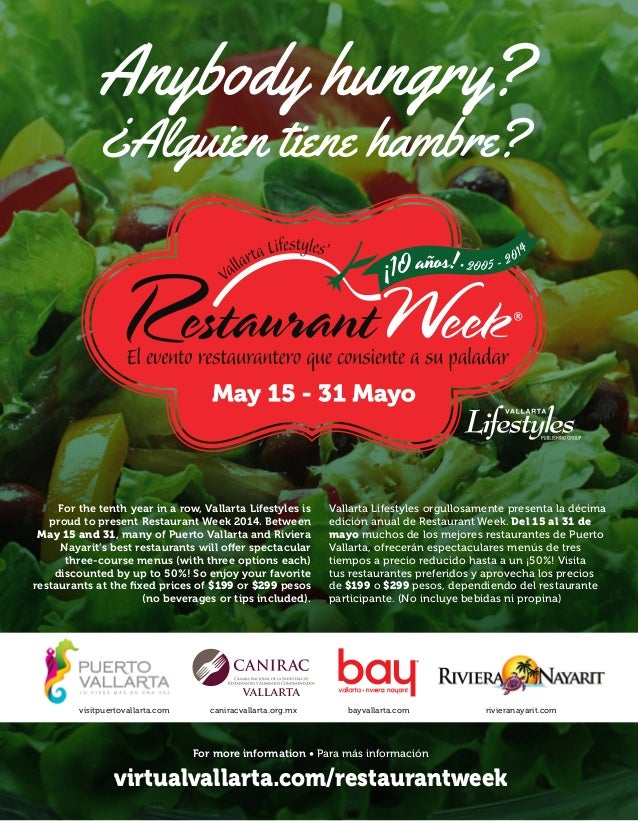 Restaurant Week 2014 | 1Visite: 8 virtualvallarta.com/restaurantweek For more information • Para más información virtualva...