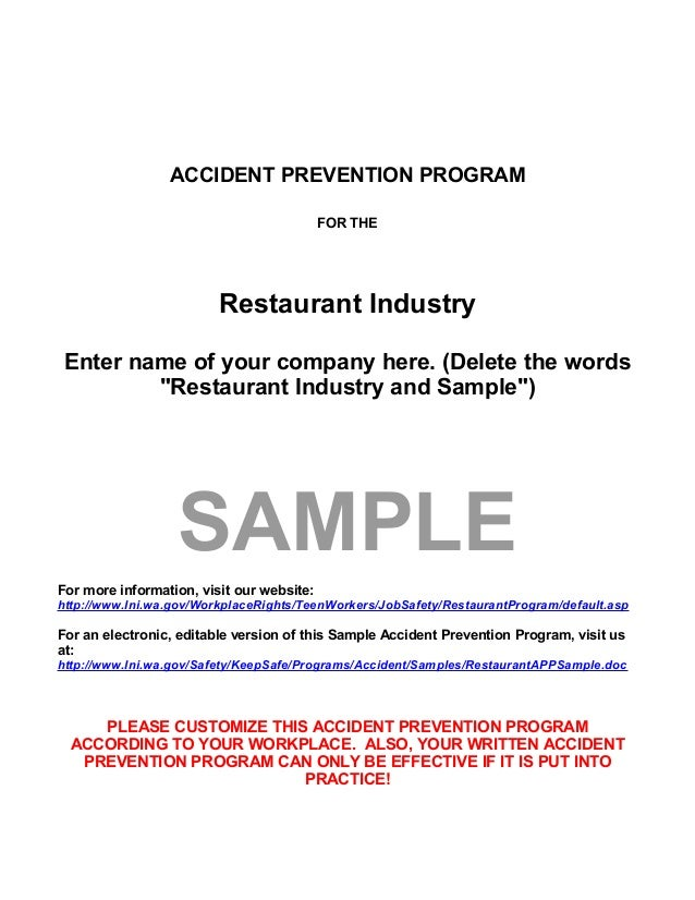 """ACCIDENT PREVENTION PROGRAM FOR THE Restaurant Industry Enter name of your company here. (Delete the words """"Restaurant Ind..."""