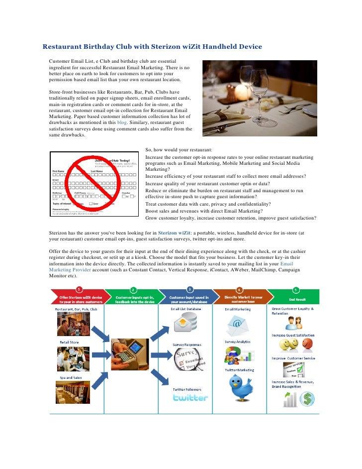 Restaurant Birthday Club using Sterizon wiZit Handheld Gadget