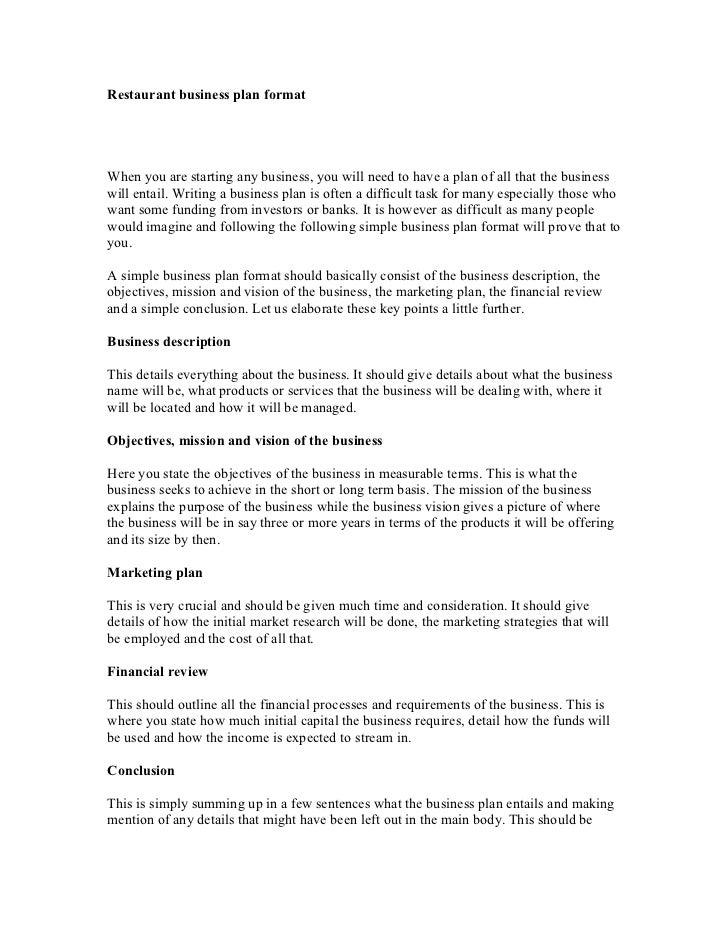 Help writing restaurant business plan
