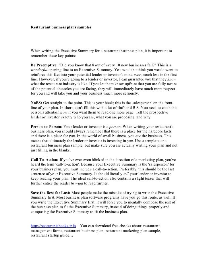 sample executive summaries for business plan