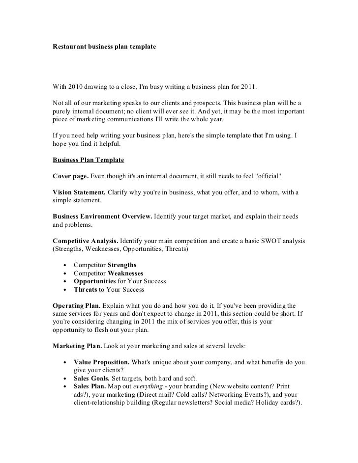 Restaurant business plan writer