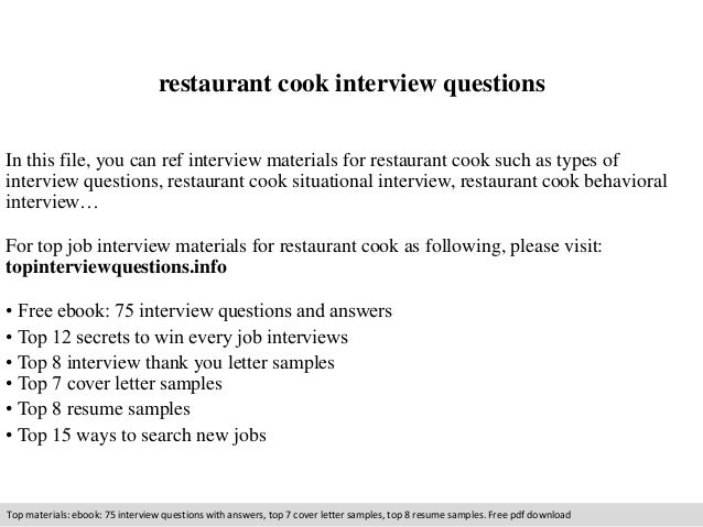 resume for cooks