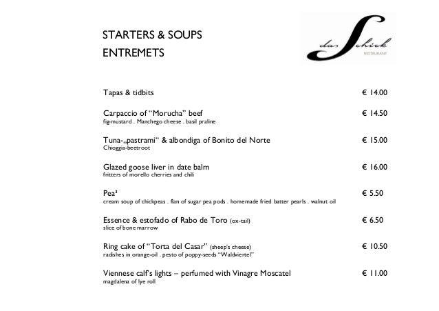 Restaurant Quot Das Schick Quot Menu Gourmet Austrian Cuisine In
