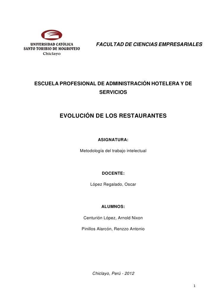 FACULTAD DE CIENCIAS EMPRESARIALESESCUELA PROFESIONAL DE ADMINISTRACIÓN HOTELERA Y DE                        SERVICIOS    ...