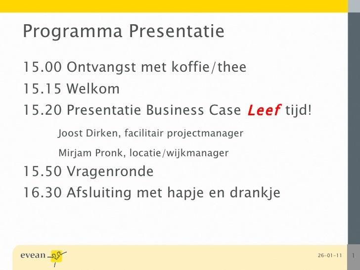 Restaurant Leeftijd Presentatie 19 01 2010