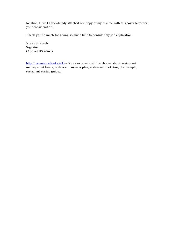 Cover letter restaurant management