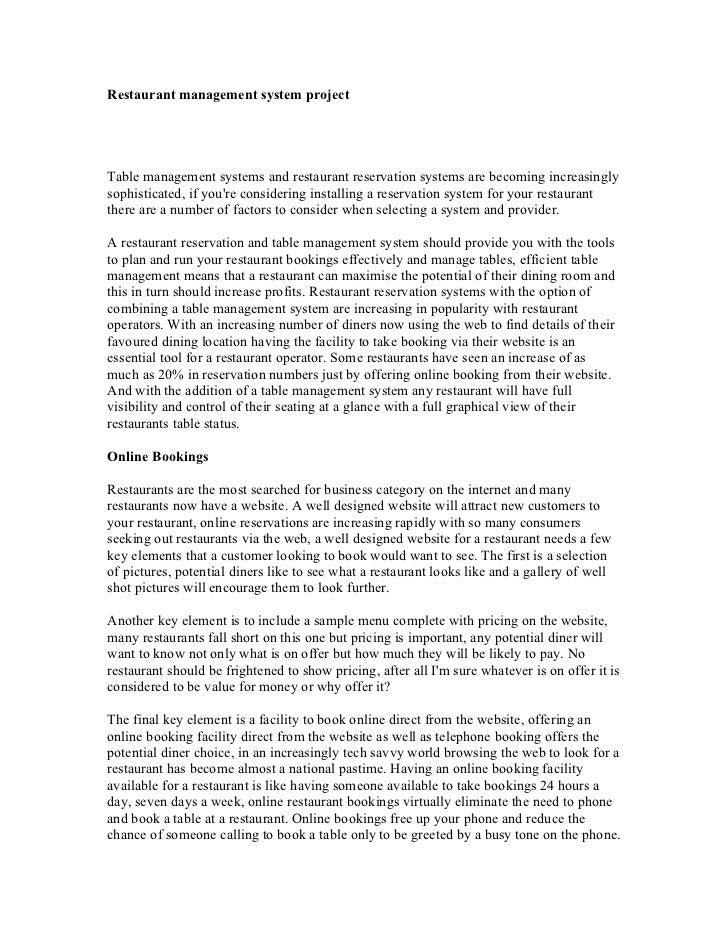 srs document for restaurant management system pdf
