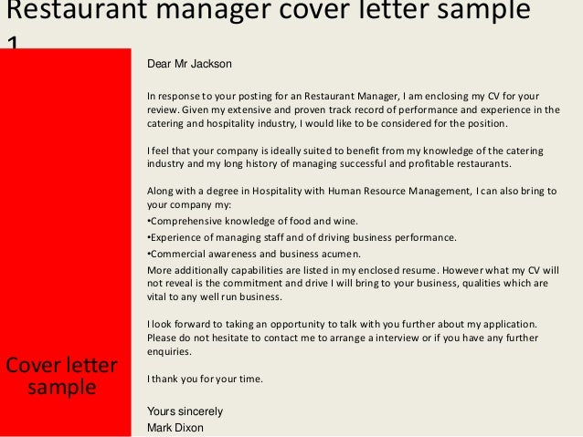 Restaurant Manager Cover Letter