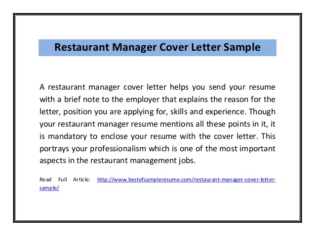 Cover letter restaurant manager :: Manager Cover Letters, Sample ...
