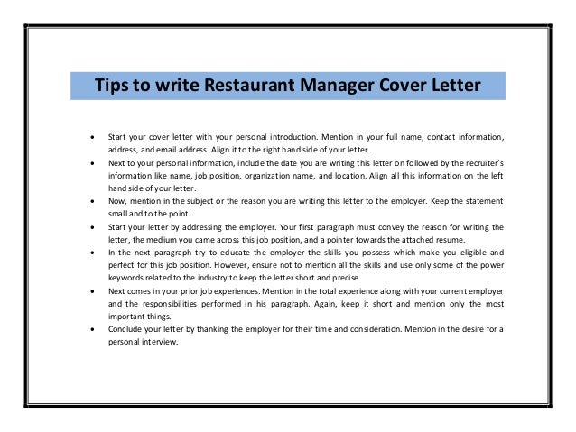 hotel and restaurant management cover letter Writing the cover letter the cover letter is usually the first thing the hiring manager sees, and is one of the best tools to make a positive first impression.