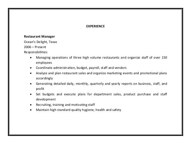 restaurant manager duties and responsibilities resume