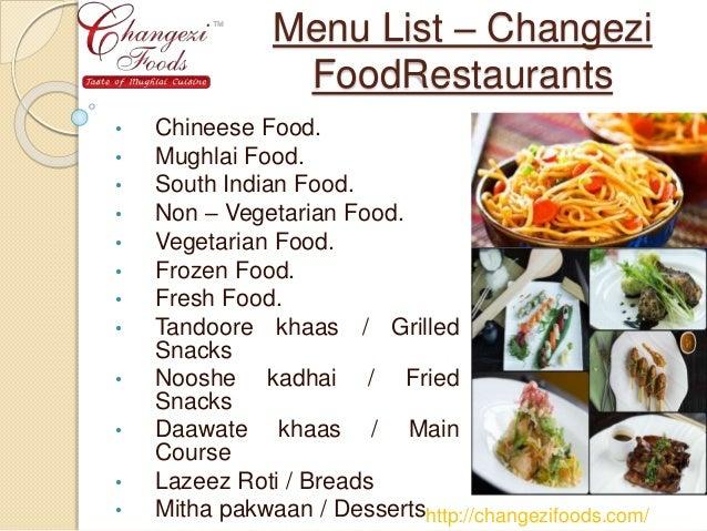 Wedding Food Menu List
