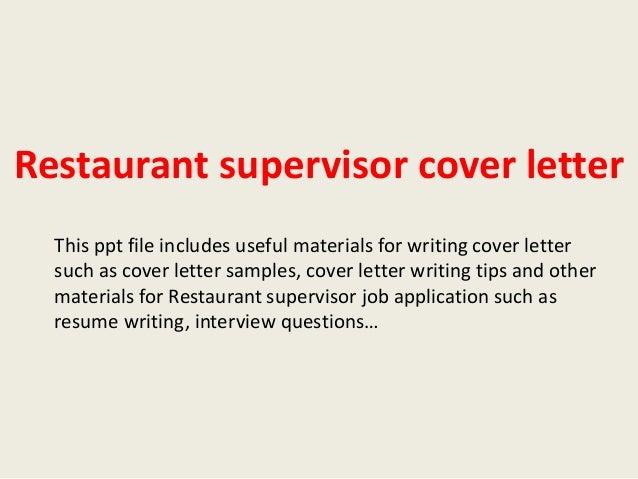 Sample cover letter restaurant supervisor