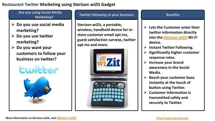 Restaurant Twitter Marketing using Sterizon wiZit Handheld Gadget
