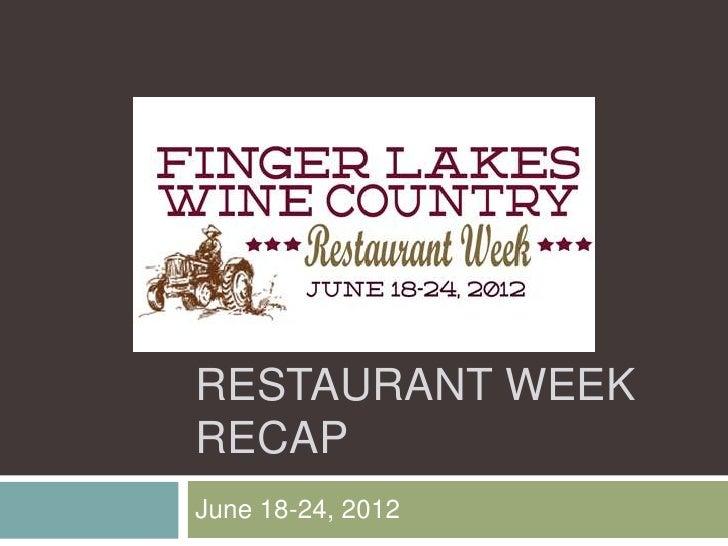RESTAURANT WEEKRECAPJune 18-24, 2012