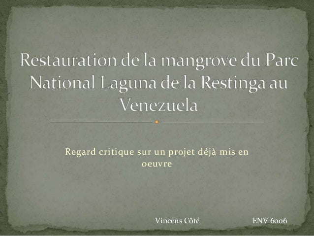 Regard critique sur un projet déjà mis enoeuvreVincens Côté ENV 6006