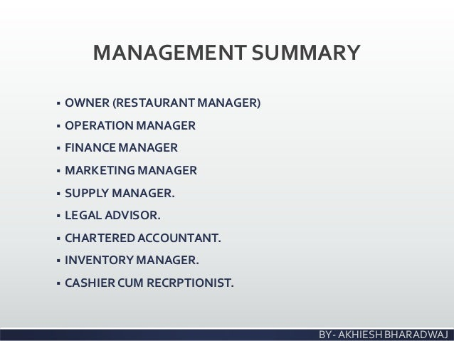 Business management plan