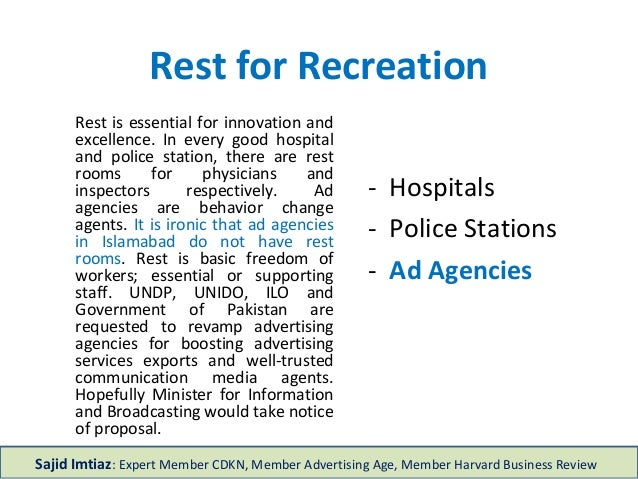 Rest for Recreation - Hospitals - Police Stations - Ad Agencies Rest is essential for innovation and excellence. In every ...