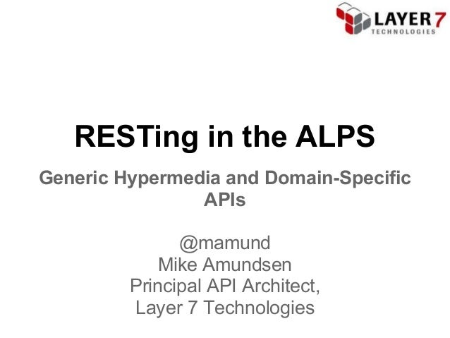 RESTing in the ALPSGeneric Hypermedia and Domain-Specific                APIs               @mamund             Mike Amund...