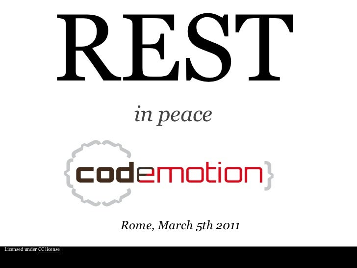 REST in peace @ Codemotion 2011