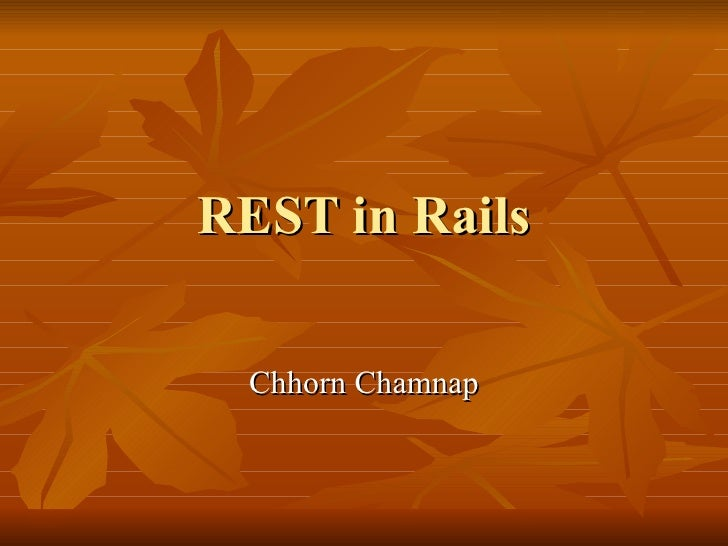 Rest in Rails