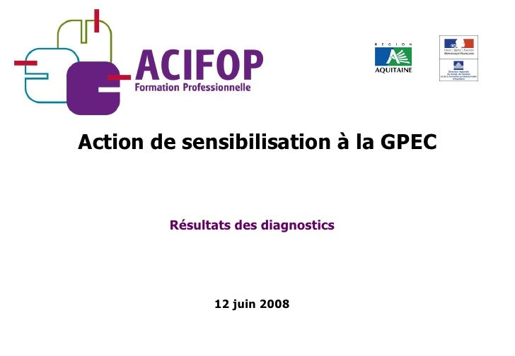Résultats des diagnostics 12 juin 2008 Action de sensibilisation à la GPEC
