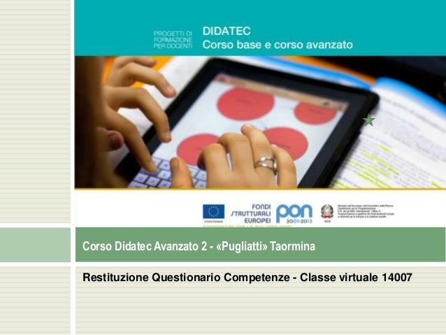 Restituzione Questionario Competenze - Classe virtuale 14007 Corso Didatec Avanzato 2 - «Pugliatti» Taormina