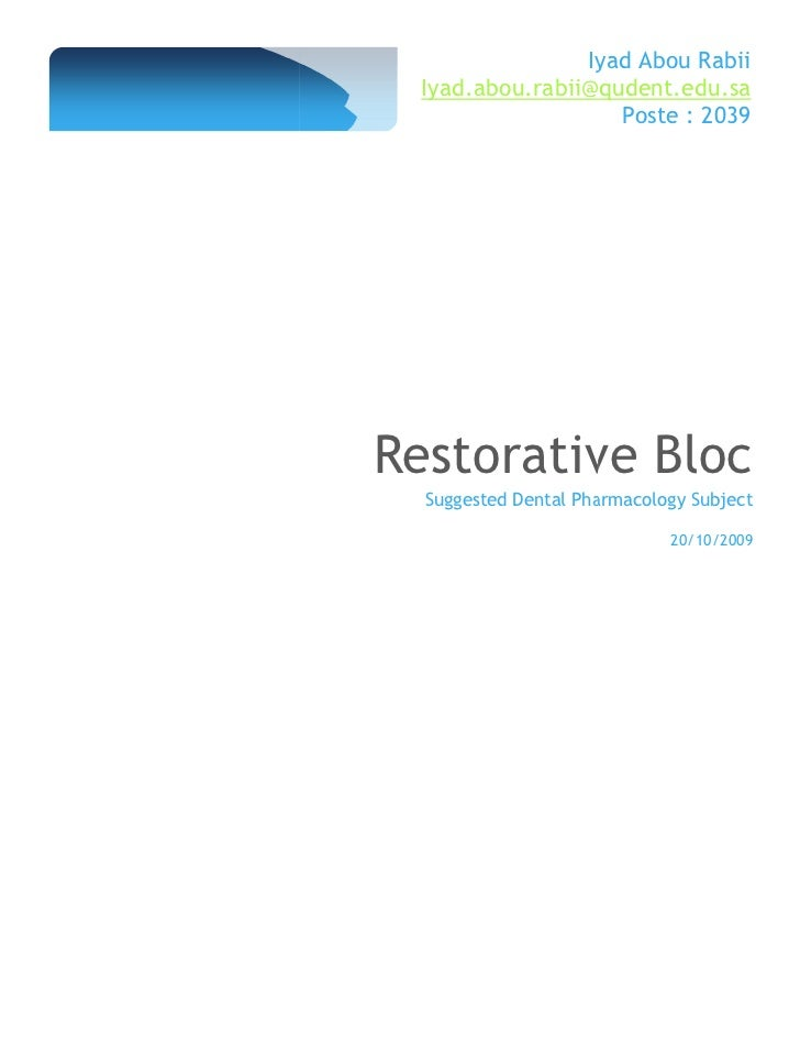 Restorative dental pharmacology