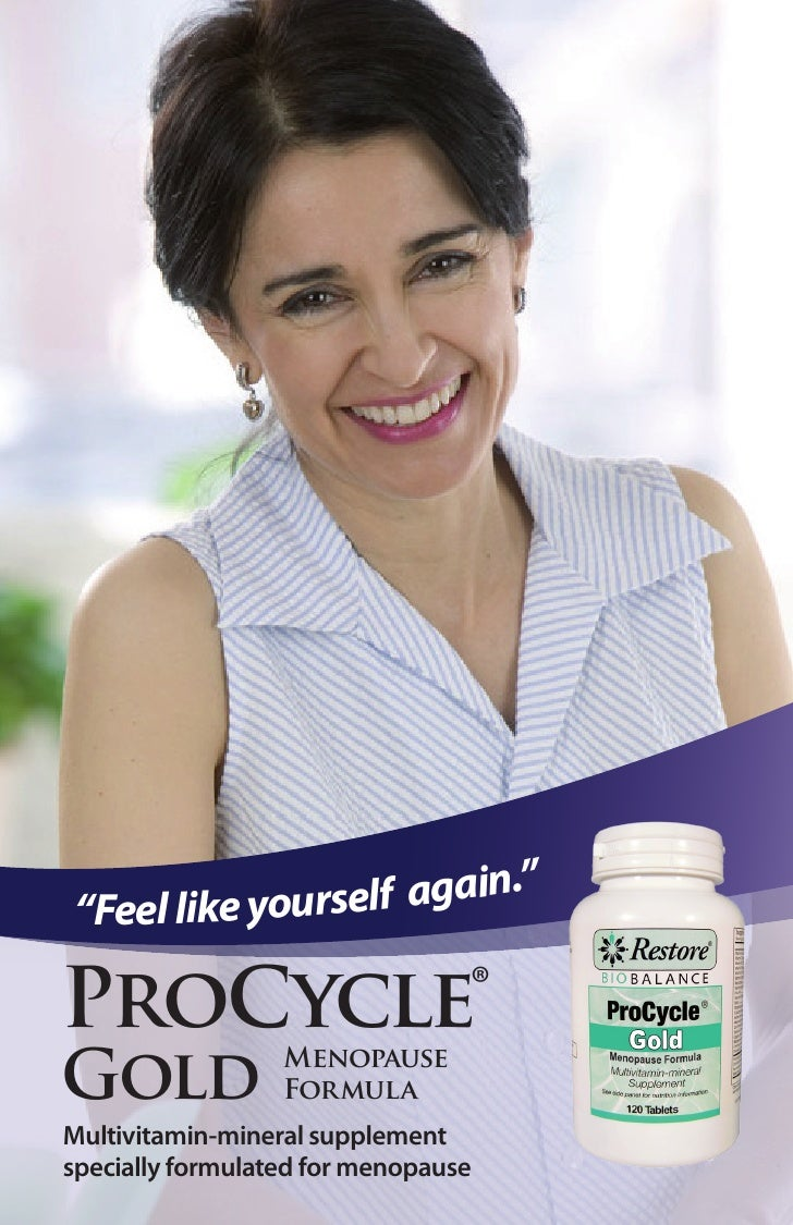 """in.""""""""Feel like yourself agaProCycle                         ®Gold              Menopause                  FormulaMultivita..."""