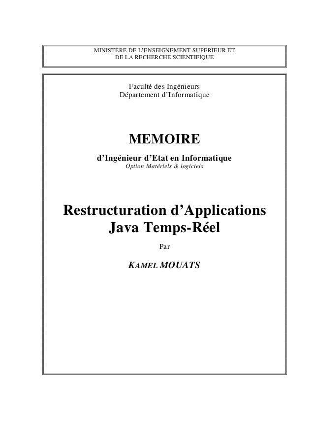 MINISTERE DE L'ENSEIGNEMENT SUPERIEUR ET          DE LA RECHERCHE SCIENTIFIQUE             Faculté des Ingénieurs         ...