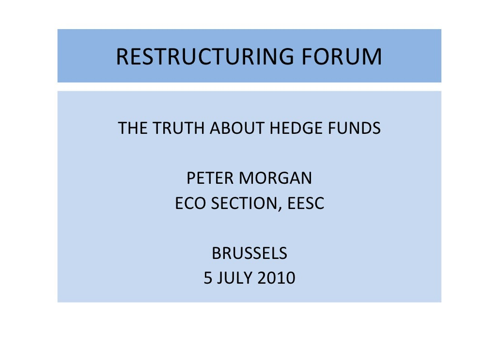 Workshop Hedge Funds and Sovereign Wealth Funds - Morgan