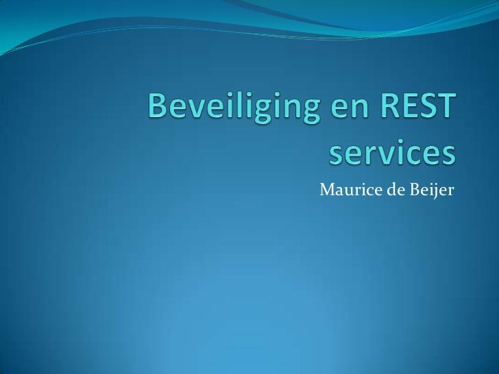 Beveiliging en REST services