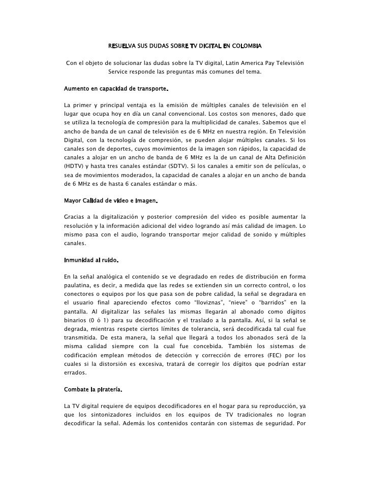 RESUELVA SUS DUDAS SOBRE TV DIGITAL EN COLOMBIA   Con el objeto de solucionar las dudas sobre la TV digital, Latin America...