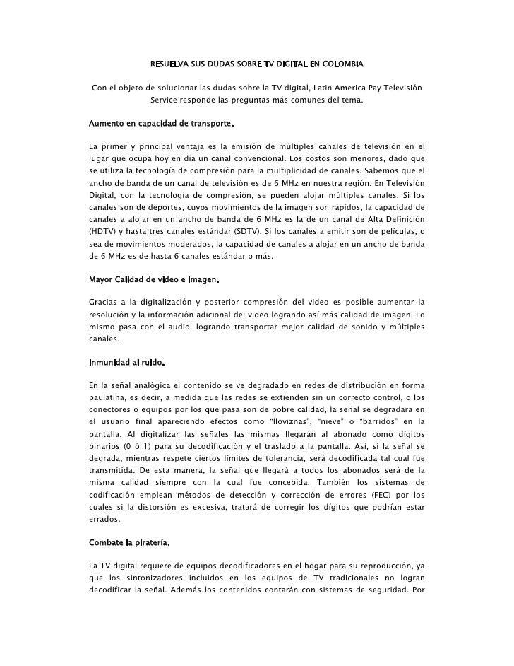 Resuelva sus dudas sobre tv digital en colombia