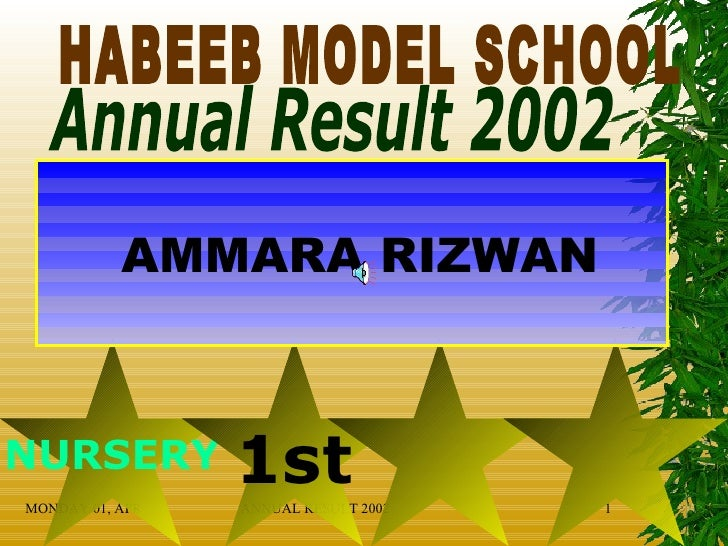 HABEEB MODEL SCHOOL Annual Result 2002 NURSERY 1st AMMARA RIZWAN