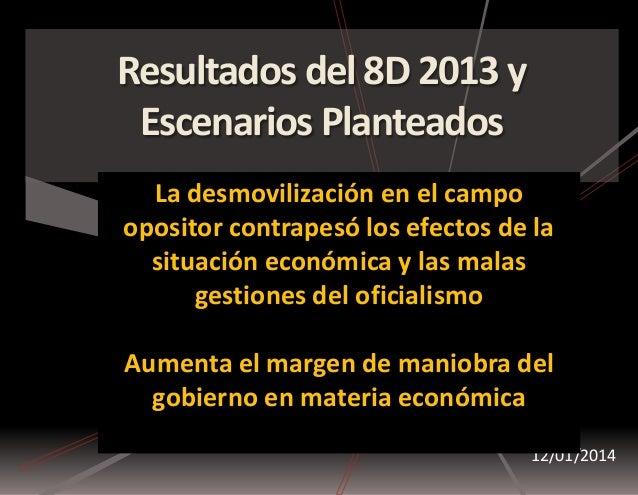 Resultados del 8D 2013 y Escenarios Planteados 12/01/2014 La desmovilización en el campo opositor contrapesó los efectos d...