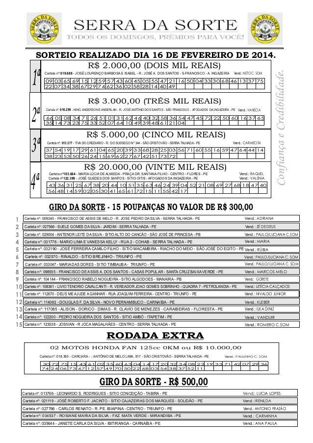 SERRA DA SORTE  TODOS OS DOMINGOS,  PRÊMIOS PARA VOCE!         SORTEIO REALIZADO DIA 16 DE FEVEREIRO DE 2014.  R$ 2.000,00...