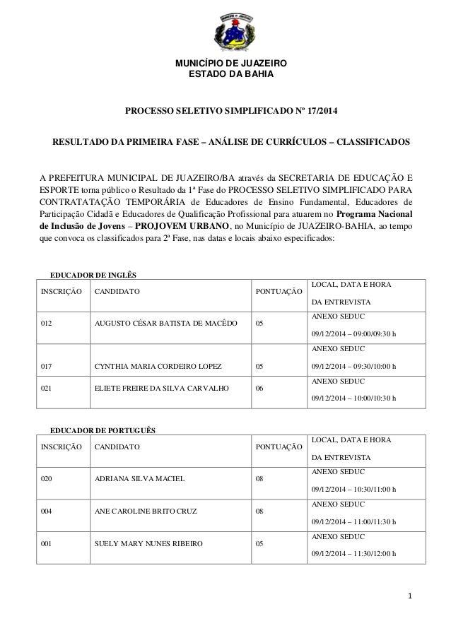 MUNICÍPIO DE JUAZEIRO  ESTADO DA BAHIA  1  PROCESSO SELETIVO SIMPLIFICADO Nº 17/2014  RESULTADO DA PRIMEIRA FASE – ANÁLISE...