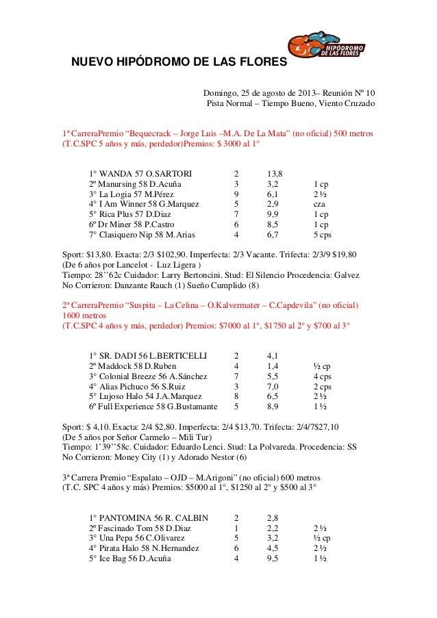 NUEVO HIPÓDROMO DE LAS FLORES Domingo, 25 de agosto de 2013– Reunión Nº 10 Pista Normal – Tiempo Bueno, Viento Cruzado 1ª ...