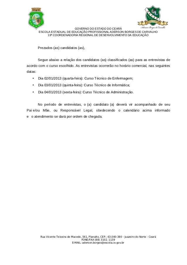 GOVERNO DO ESTADO DO CEARÁ         ESCOLA ESTADUAL DE EDUCAÇÃO PROFISSIONAL ADERSON BORGES DE CARVALHO              19ª CO...