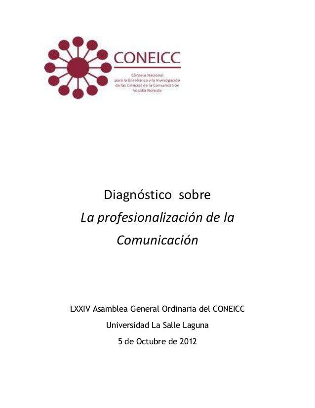 Resultado diagnóstico sobre profesionalización de la com. coneicc oct.2012