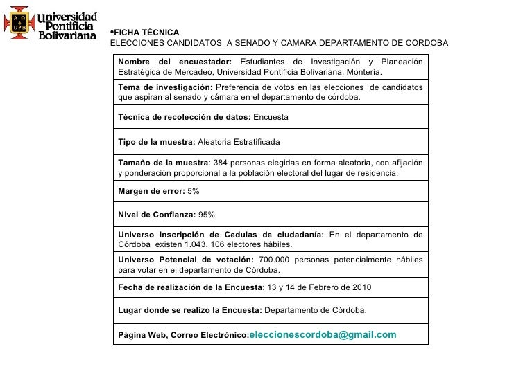<ul><li>FICHA TÉCNICA </li></ul><ul><li>ELECCIONES CANDIDATOS  A SENADO Y CAMARA DEPARTAMENTO DE CORDOBA </li></ul>Página ...