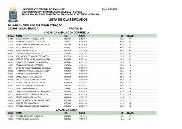 UNIVERSIDADE FEDERAL DO PIAUÍ - UFPI                             Data: 25/06/2012             COORDENADORIA PERMANENTE DE ...