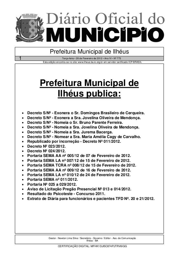 Prefeitura Municipal de Ilhéus1                                Terça-feira • 28 de Fevereiro de 2012 • Ano IV • Nº 773    ...