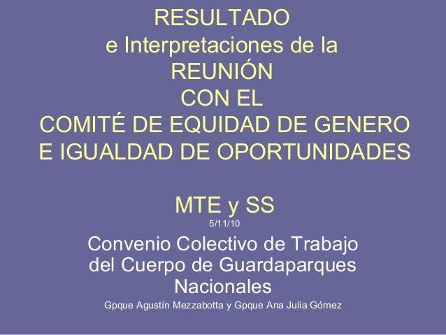RESULTADO e Interpretaciones de la REUNIÓN CON EL COMITÉ DE EQUIDAD DE GENERO E IGUALDAD DE OPORTUNIDADES MTE y SS 5/11/10...