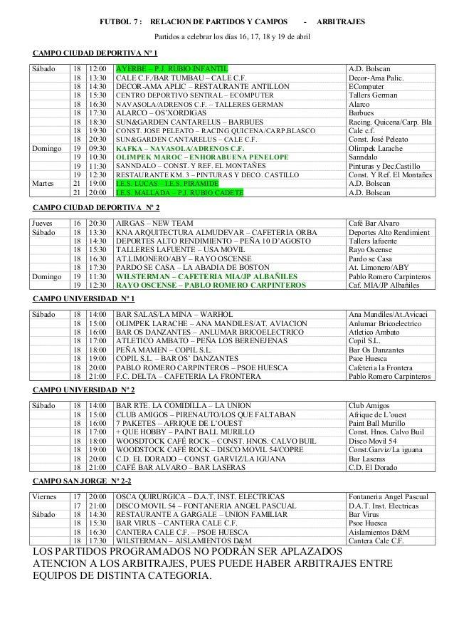 FUTBOL 7 : RELACION DE PARTIDOS Y CAMPOS - ARBITRAJES Partidos a celebrar los días 16, 17, 18 y 19 de abril CAMPO CIUDAD D...