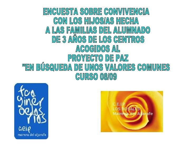 ENCUESTA SOBRE CONVIVENCIA  CON LOS HIJOS/AS HECHA A LAS FAMILIAS DEL ALUMNADO DE 3 AÑOS DE LOS CENTROS ACOGIDOS AL PROYEC...