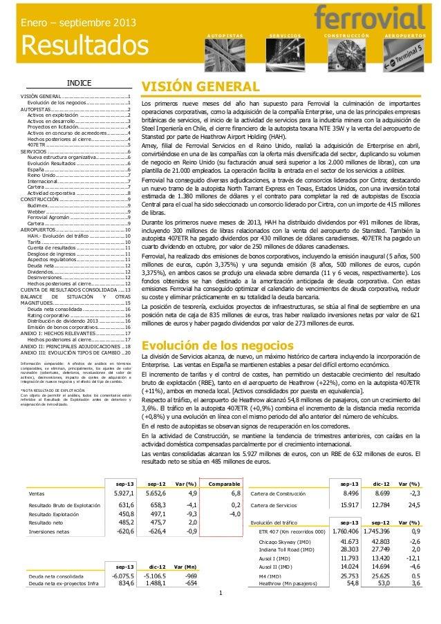 Resultados enero-septiembre 2013